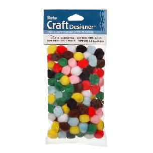 Pom Poms - Assorted Acrylic - .39 inch - 10mm - 100 pieces