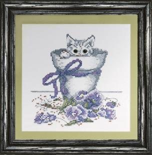 Flowerpot Kitty 11 x 11 inch Stamped Cross Stitch Kit