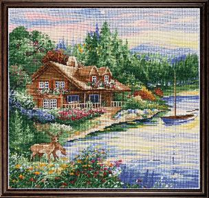 Lakeside Cabin 15 x 15 inch Counted Cross Stitch Kit