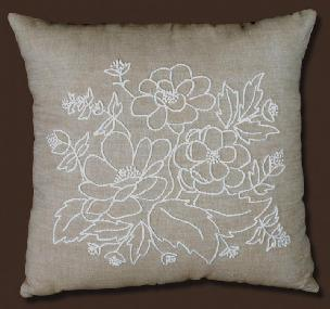 Floral Design 14 x 14 Pillow Shell Candlewicking kit