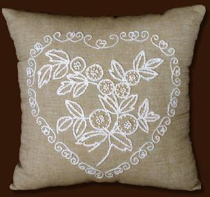 Heart Design 14 x 14 inch Pillow Shell Candlewicking Kit