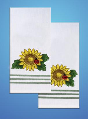 Sunflower Green Stripe Kitchen Towels - one pair from Tobin