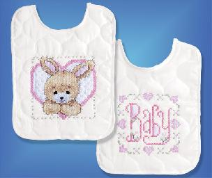 Bedtime Prayer Girl - Set of 2 Baby Bibs Stamped for Cross Stitch