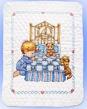 Bedtime Prayer Quilt - Boy Stamped for Cross Stitch by Tobin