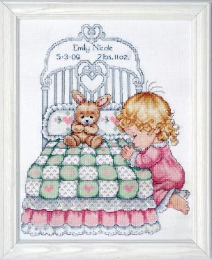 Bedtime Prayer - Baby Girl Counted Cross Stitch Baby Sampler by Tobin