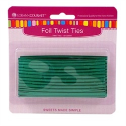 Green Metallic Twist Ties - 50 pc/pk LorAnn