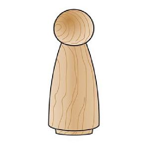 Wood Doll Body - 3-1/2 inches - 2 pieces