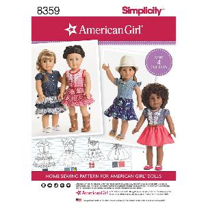 Simplicity American Girl Country Doll Clothes for 18 Inch Doll - 4 outfits