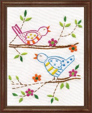 Birds 5 x 7 inch Stamped Embroidery Kit