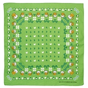 Irish themed green bandana with beer and shamrocks 22 x 22 inches