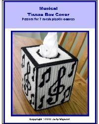 Musical Tissue Box Cover Pattern for 7 mesh plastic canvas