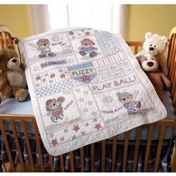 Baseball Buddies Crib Cover Stamped Cross Stitch Kit