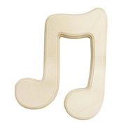Beveled Wood Music Symbol - Double Eighth Note - 6 inches