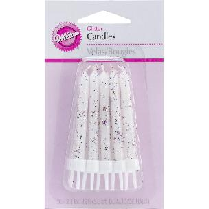 Glitter Birthday Candles W/Holders 2.3 inch 10/Pkg
