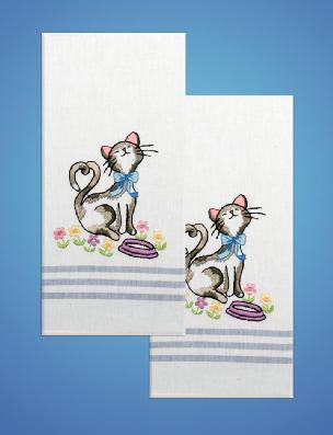 Cat with Flowers Blue Stripe Towel Set