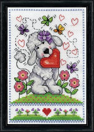 Poodle Dog With Heart Counted Cross Stitch Kit