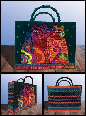 Cat Tote Plastic Canvas Kit - Laurel Burch
