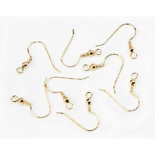 Nickel Free Gold - Earring Wires - Fish Hook or French Hook - 1 inch