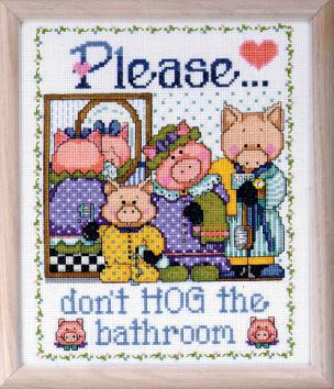 Please Don't Hog The Bathroom Counted Cross Stitch kit