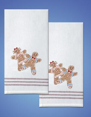 Gingerbread Red Stripe Kitchen Towels - one pair from Tobin