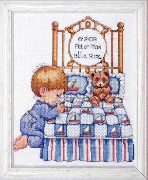 Bedtime Prayer - Boy Counted CrossStitch Sampler 11 x 14 inch