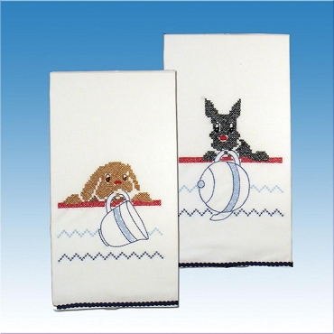 Dogs Kitchen Towels Stamped for Embroidery 17 x 30 in