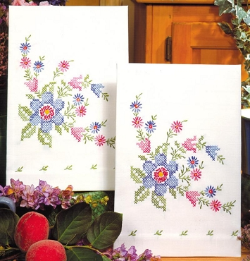 Serenade Stamed for Embroidery Kitchen Towels, One Pair 17 x 30 inches