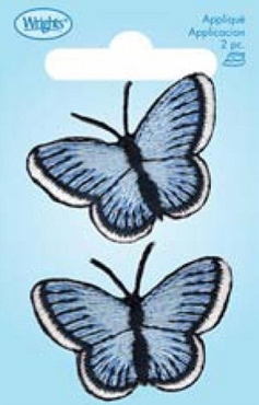 Blue Small Butterfly  Iron-on Applique 1.5 x 1.25 inch
