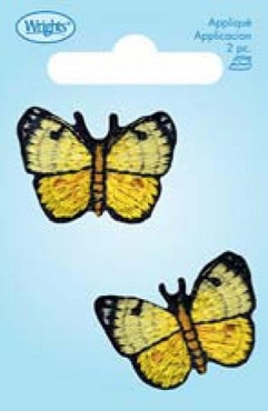 Buttery Butterfly Iron On Applique 2 per pkg 1.25 x .75 inches