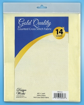 Ivory 14 count Gold Quality Counted Cross Stitch Fabric 60 in x 1 yd