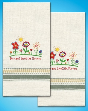 Smell the Flowers Kitchen Towels - one pair