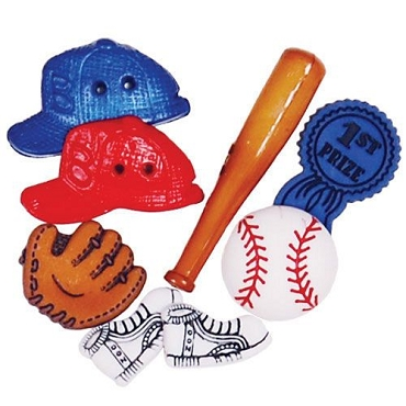Baseball - 8 decorative buttons per package