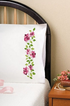 Pink Roses - Pair of Standard Pillowcases by Tobin