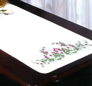 Meadow Flowers 14 x 39 inch Dresser Scarf Stamped For Embroidery by Tobin