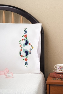 Love Birds - Pair of Standard Pillowcases by Tobin