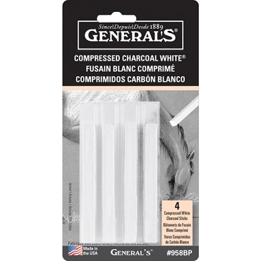 General's® Compressed Charcoal - White, Extra smooth - 4 pieces
