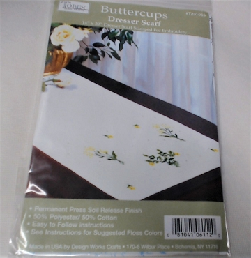 Buttercups Dresser Scarf Stamped for Embroidery 14 x 39 inch