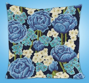 Blue Floral - Needlepoint Kit - 12 x 12 Pillow or Picture