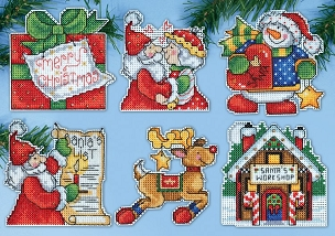 Santa's Workshop #14 Count Plastic Canvas Ornament Kit - 6 pc