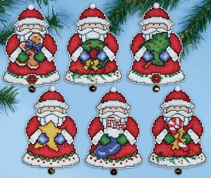 Santa's Gifts - #14 Count Plastic Canvas Ornament Kit 6 pc